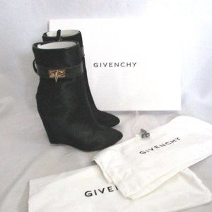 NEW GIVENCHY LEATHER PONY HAIR CALF BOOT BLACK